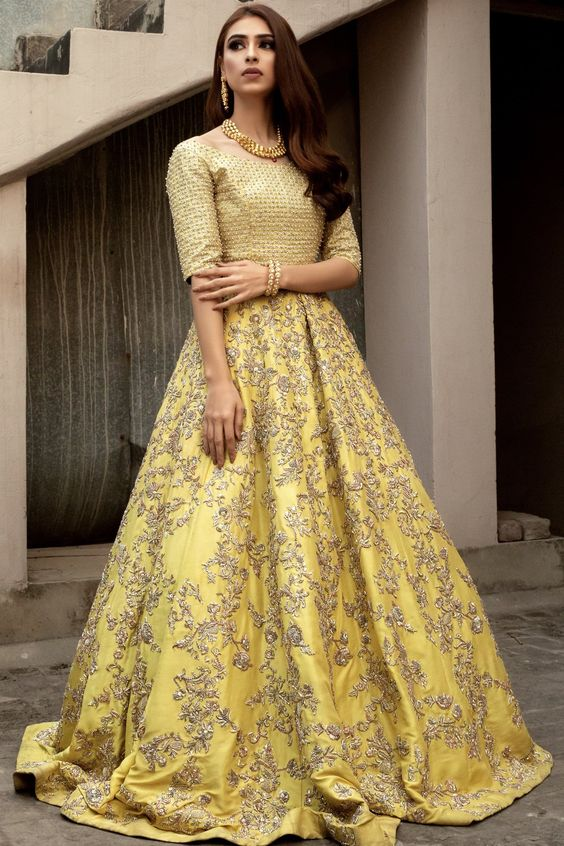 Modern and unique yellow bridal lehnga